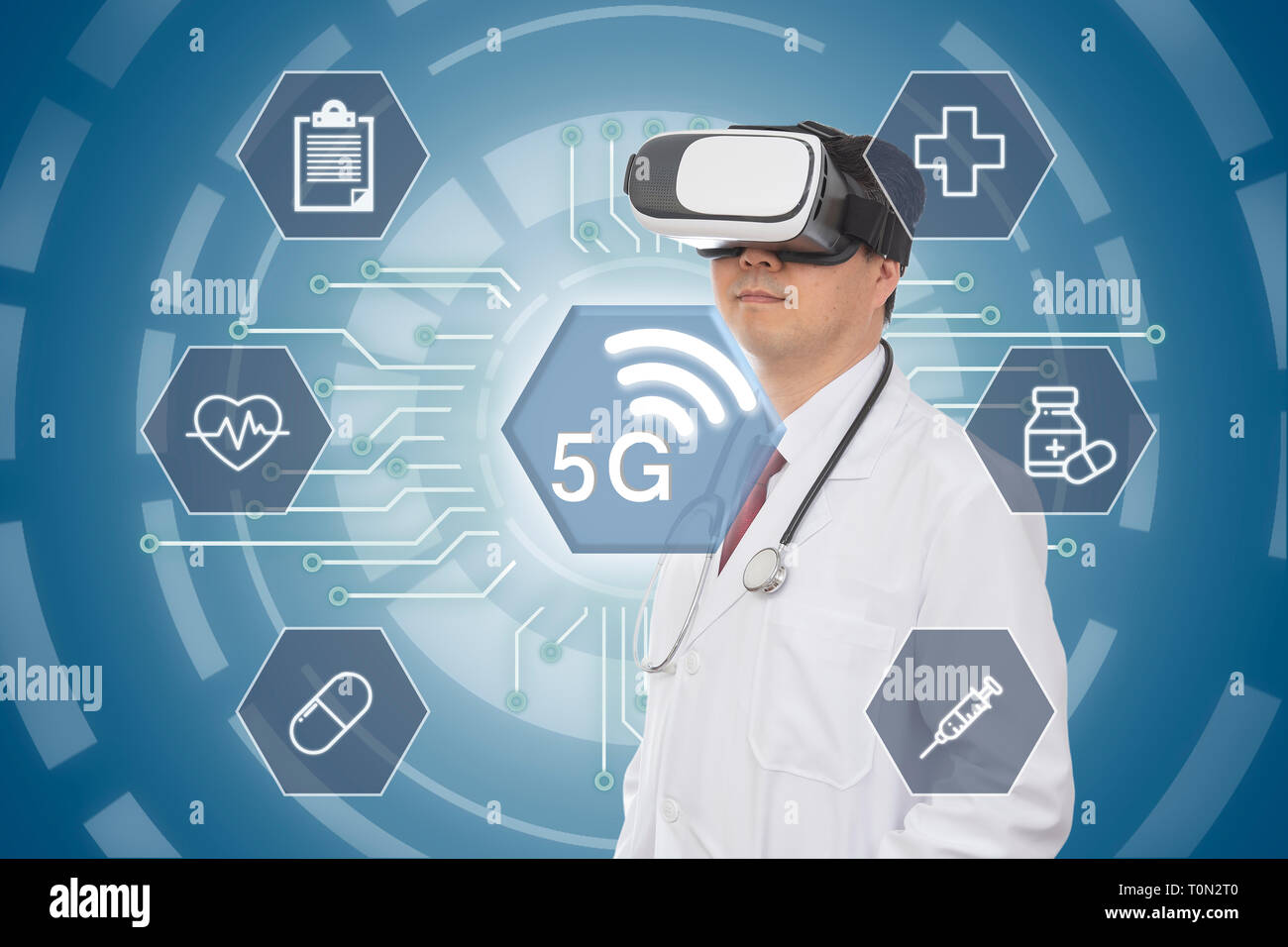 Male doctor wearing virtual reality glasses. 5G Medical Concept. Computer Graphic. - Stock Image