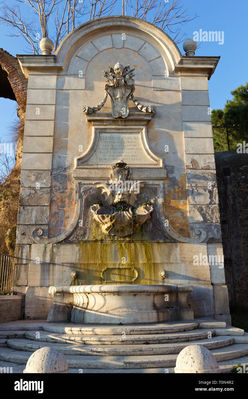 "La Fontana Bella (The ""Beautiful Fountain"", 1733 AD) near Porta Furba - Rome - Stock Image"