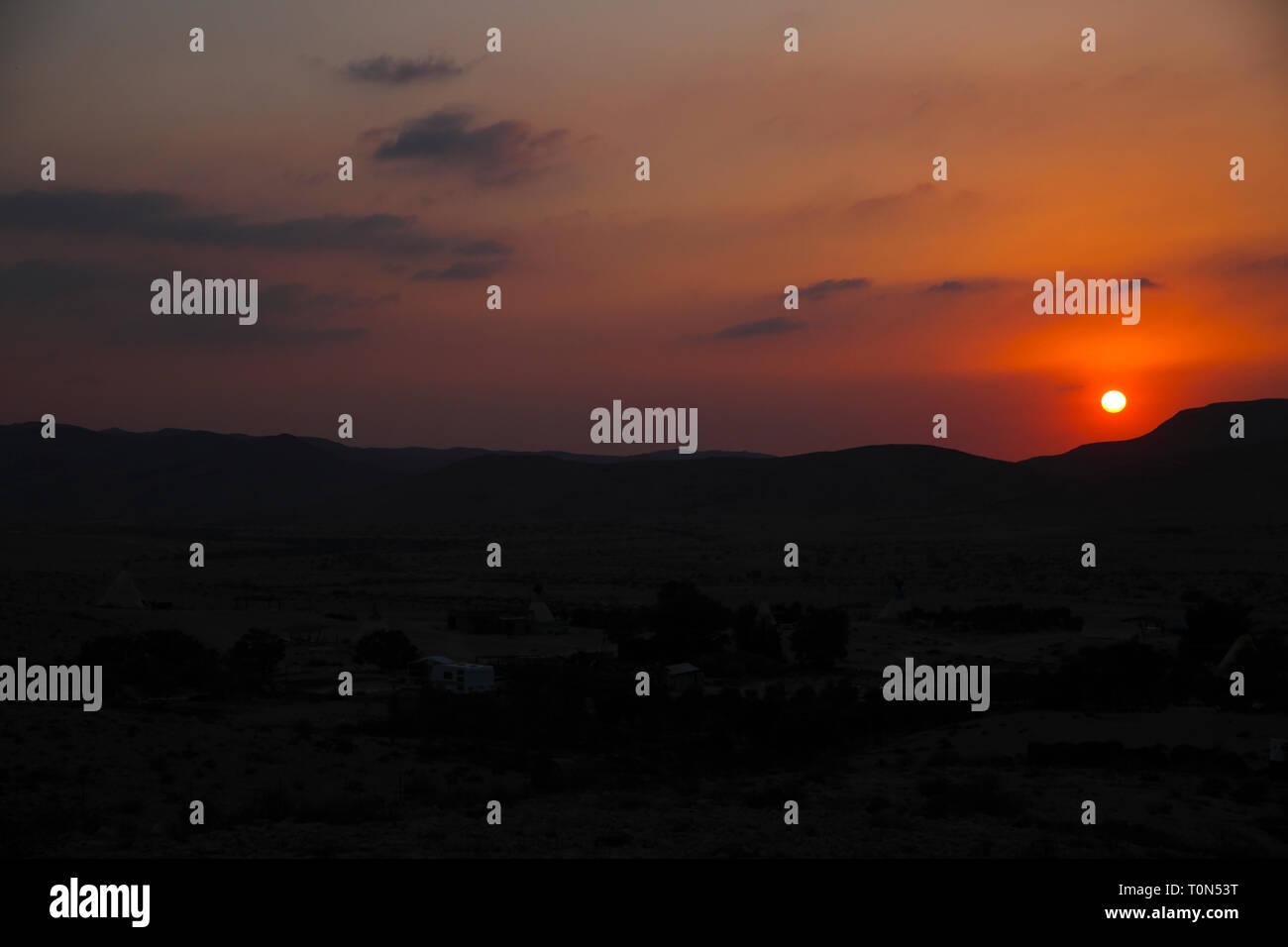 Desert sunset Photographed in Israel, Negev desert Stock Photo