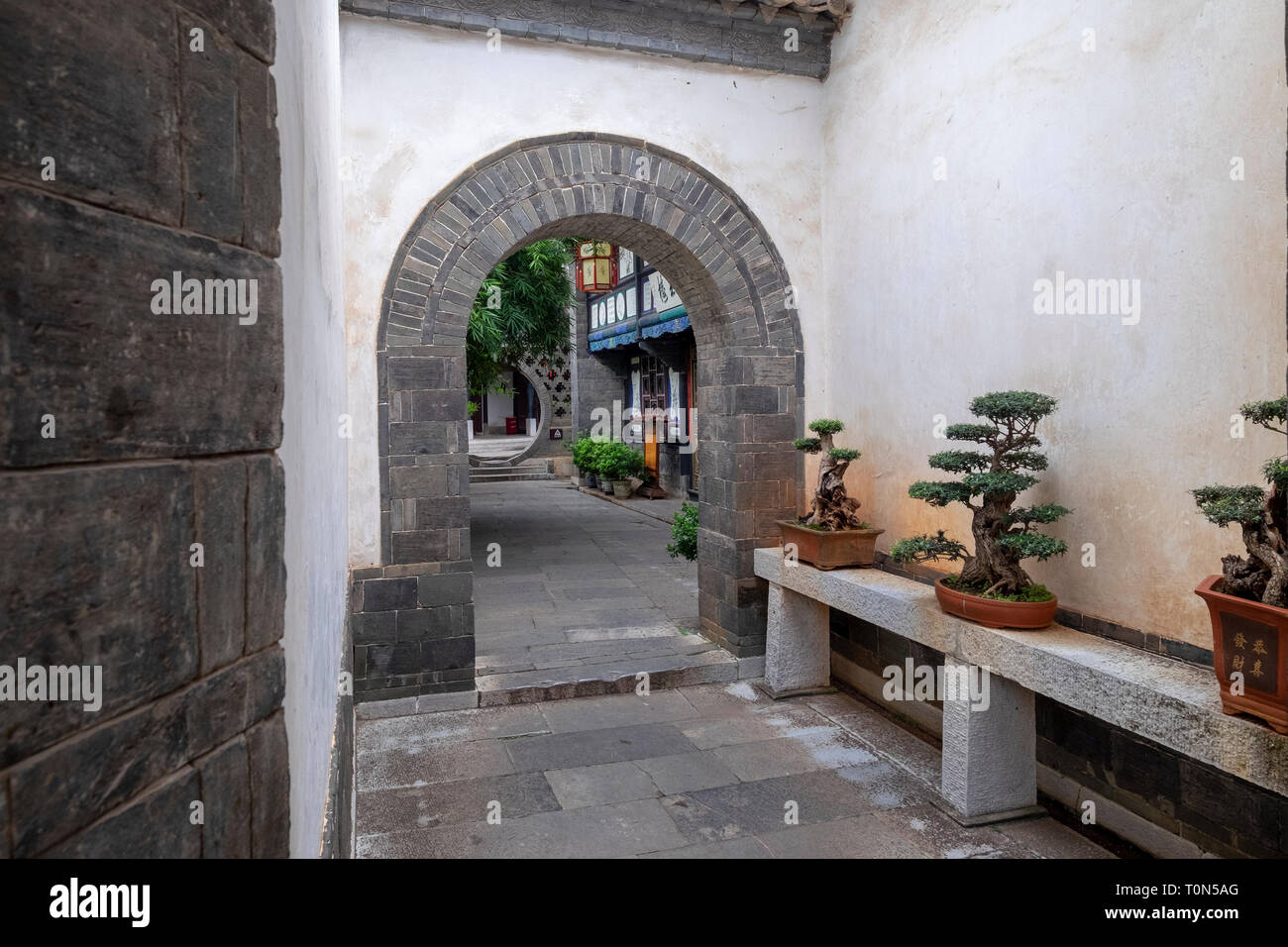 Interior courtyard, Zhu Family house, Jianshui Ancient Town, Yunnan Province, China - Stock Image