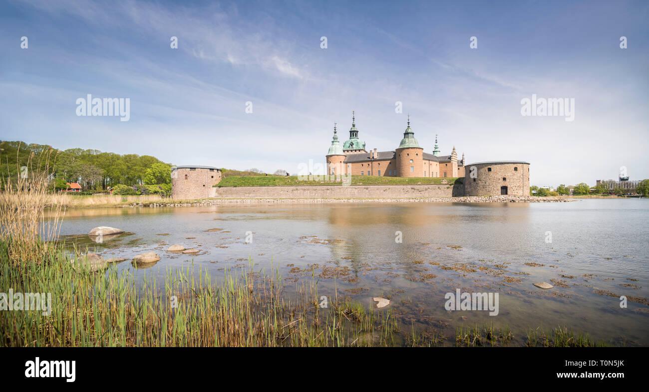 Panoramic view of Kalmar Castle, Kalmar, Smaland, Sweden. - Stock Image