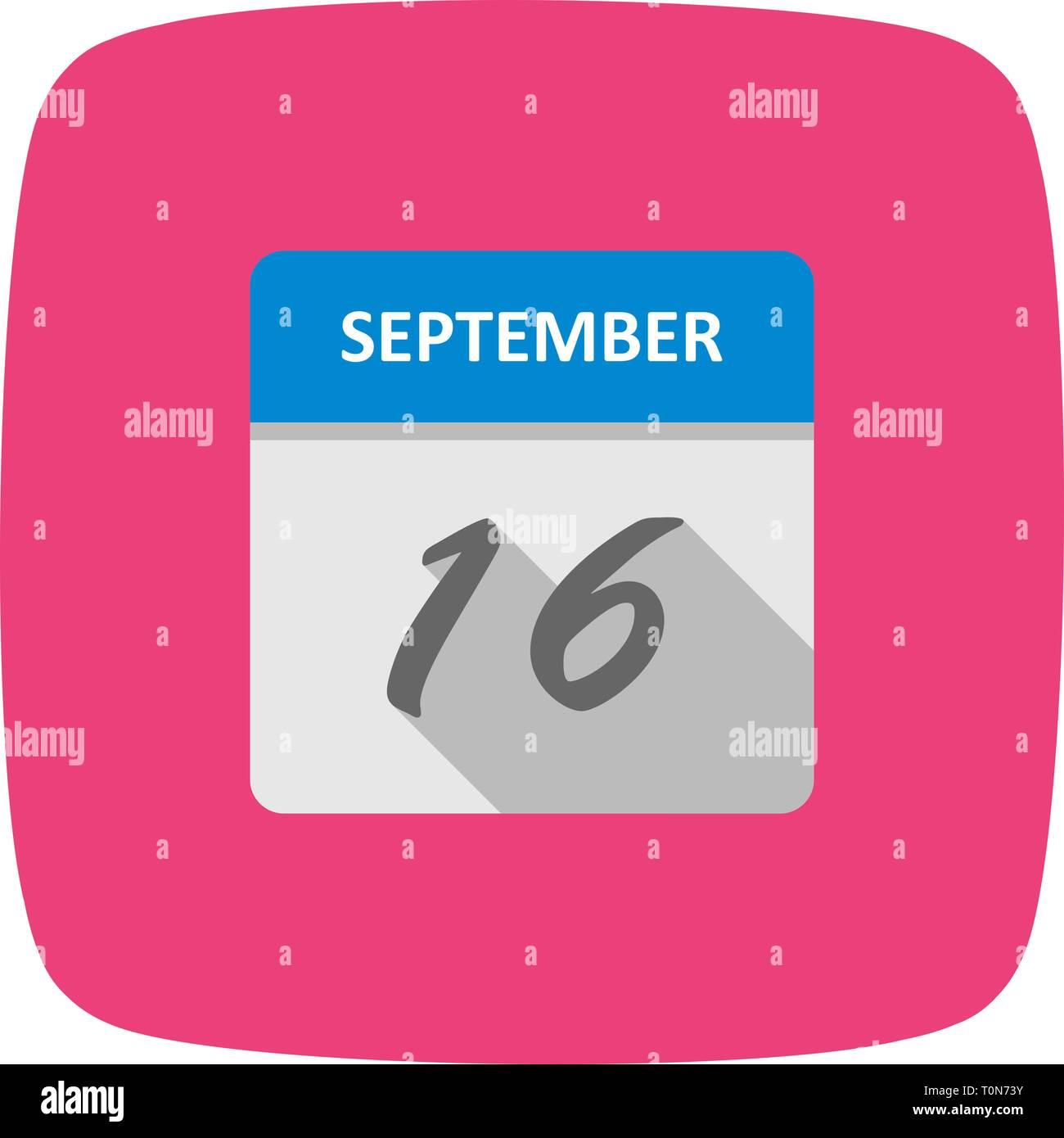 7072a39b75e9 September 16th Date on a Single Day Calendar - Stock Image