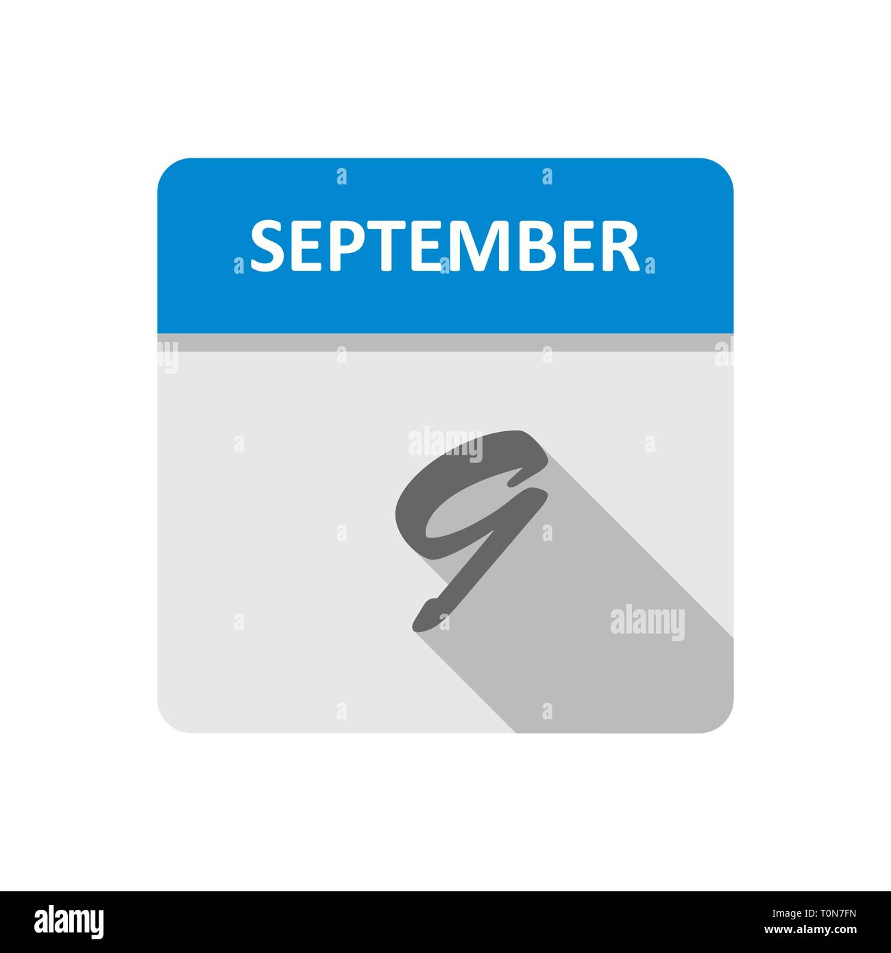 September 9th Date on a Single Day Calendar - Stock Image