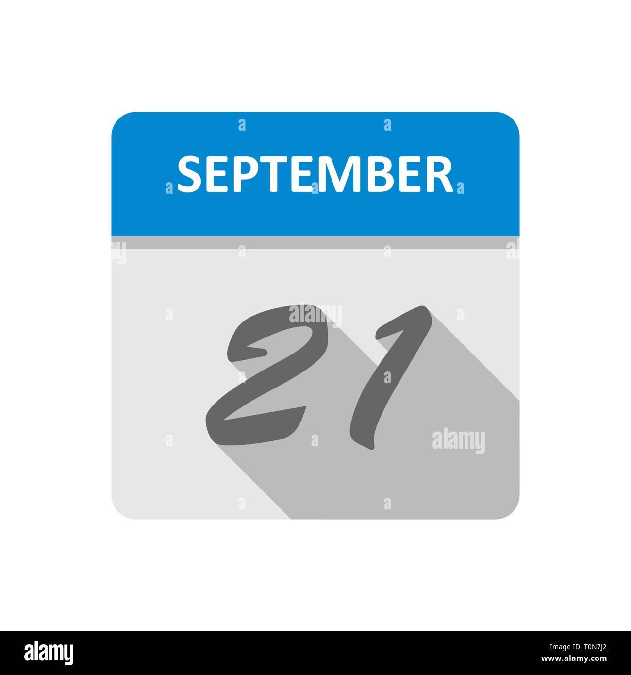 September 21st Date on a Single Day Calendar - Stock Image