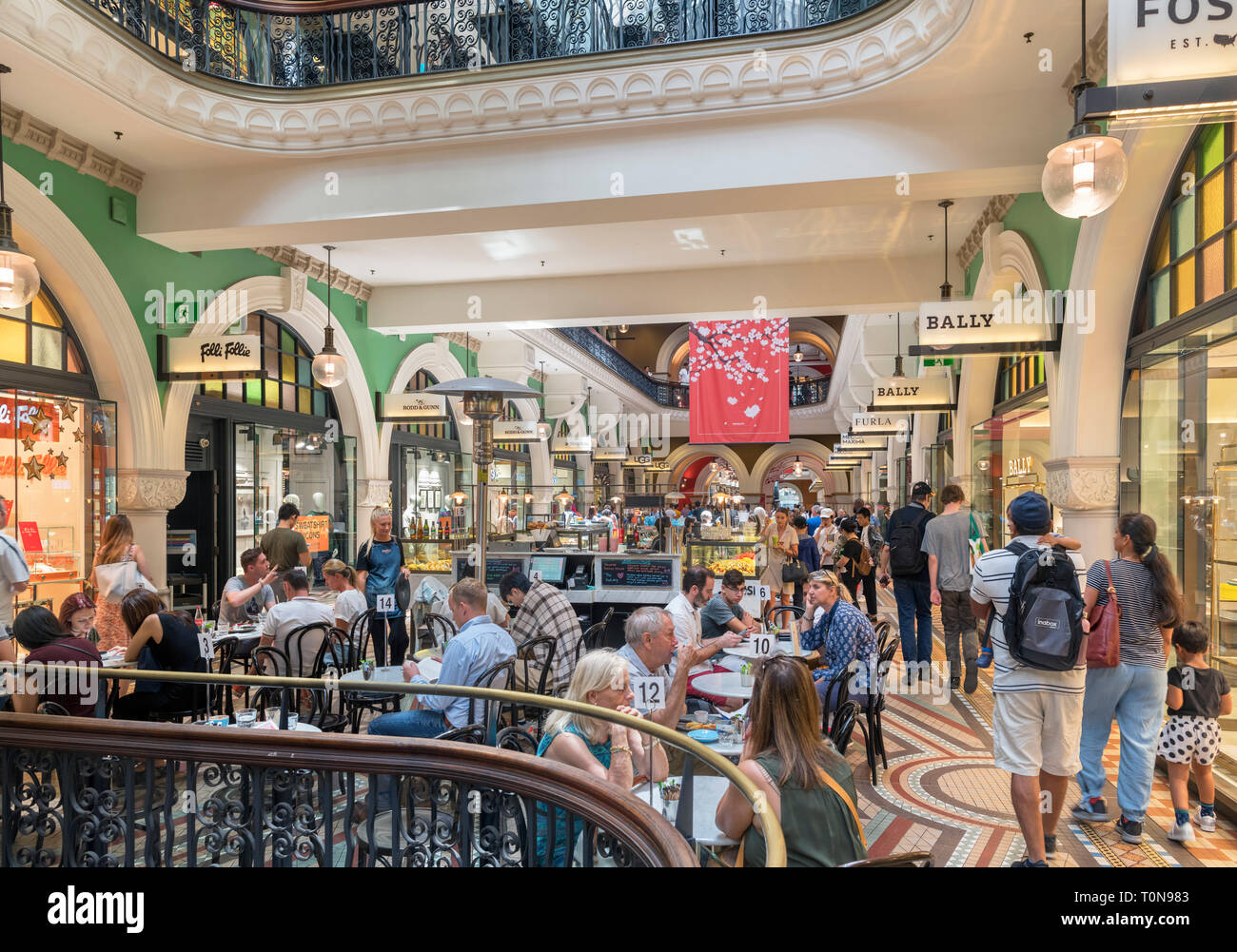 Cafe in the Queen Victoria Building (QVB) arcade, Central Business District, Sydney, Australia - Stock Image