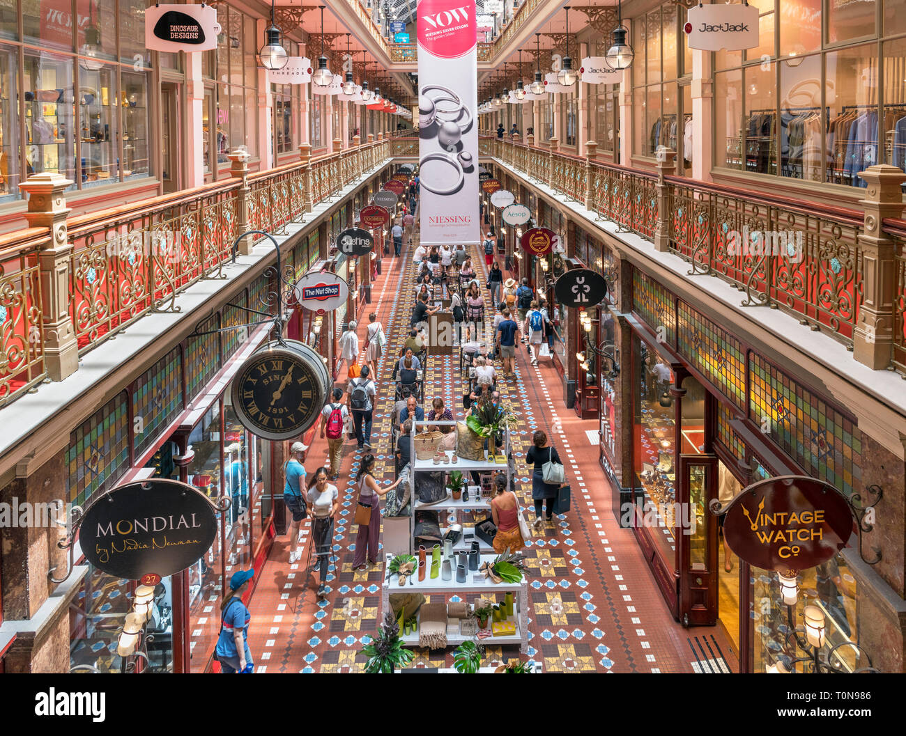 Upmarket stores in the Strand Arcade, Central Business District, Sydney, Australia - Stock Image