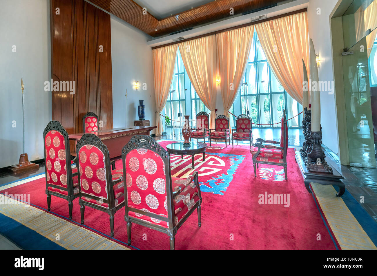 Decorated Living room designed in the 19th century preserved in museums in Ho Chi Minh City, Vietnam Stock Photo