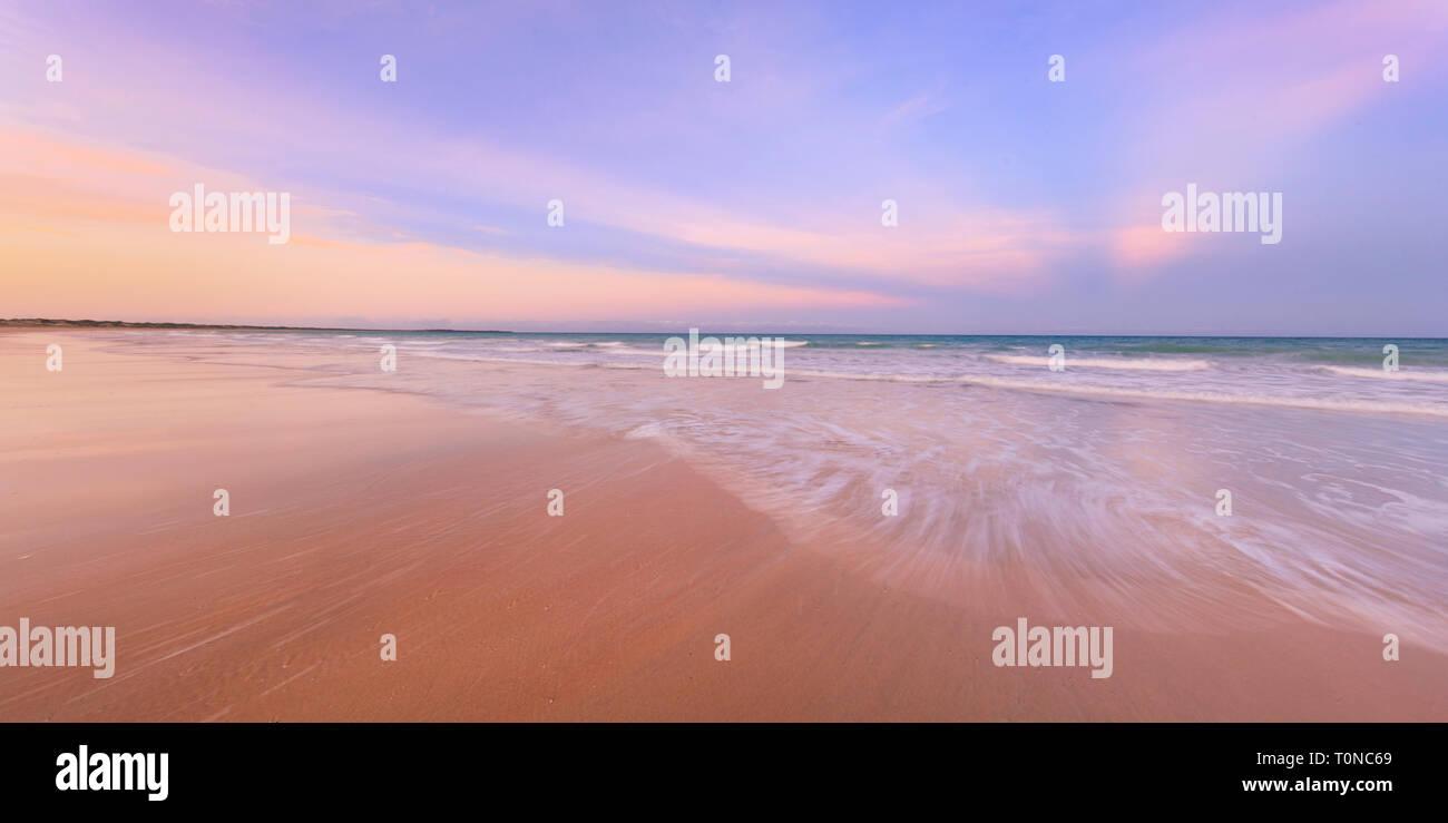 Cable Beach, Broome, Western Australia. A beautiful sunrise over Cable Beach, WA - Stock Image