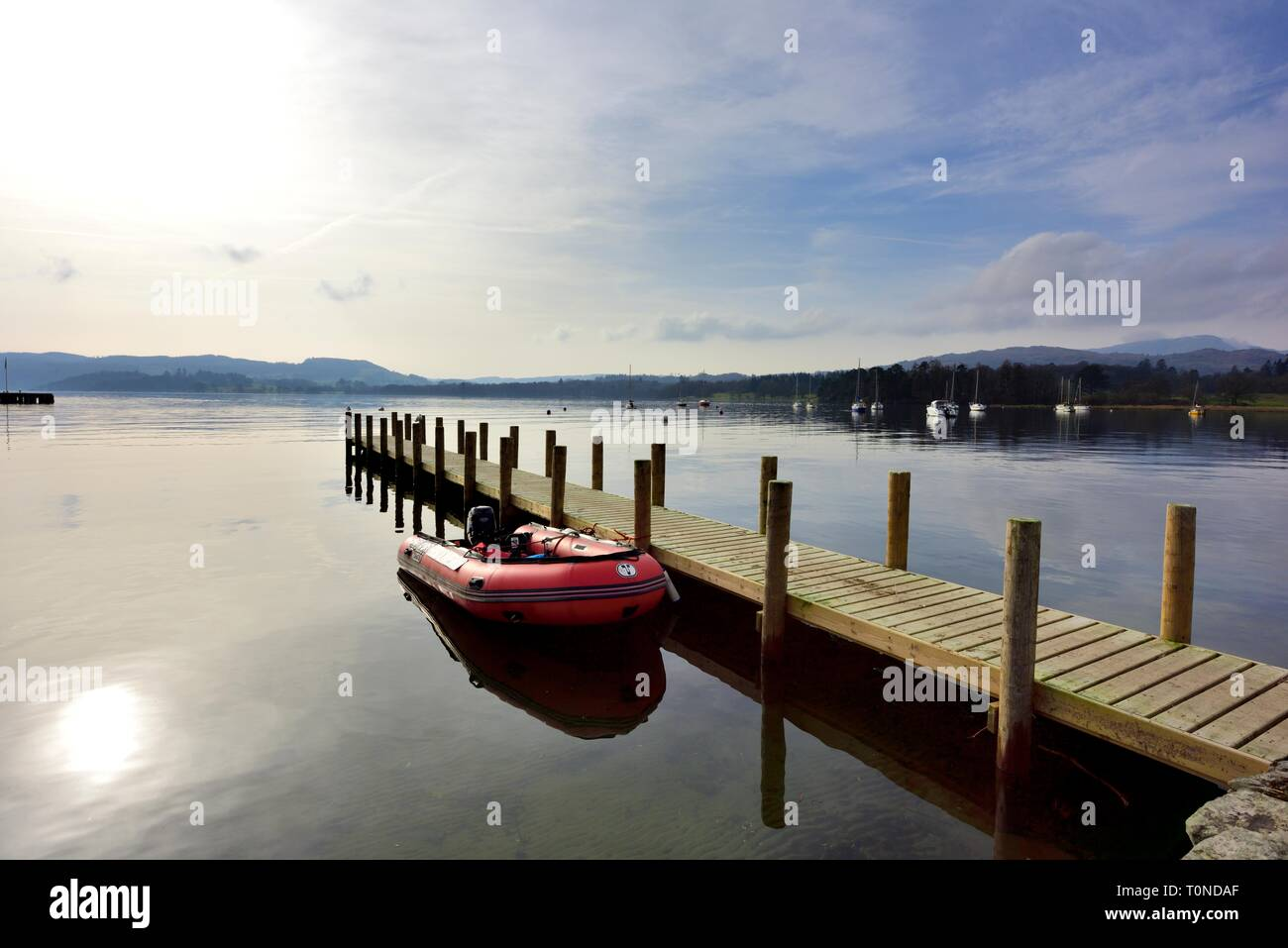 Inflatable speedboat,Waterhead,Ambleside,Lake Windermere,Lake District,Cumbria,England,UK Stock Photo