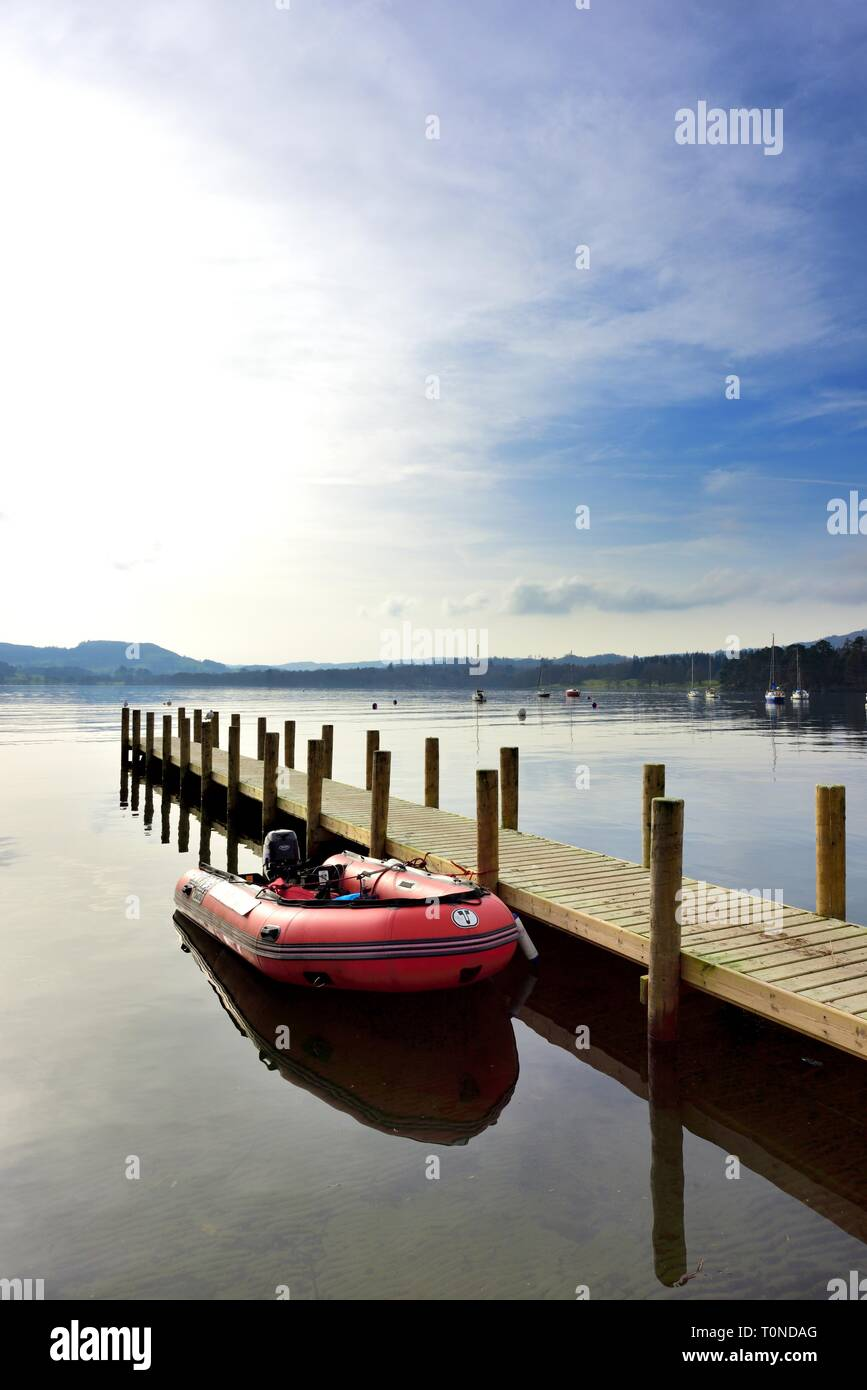 Inflatable speedboat,Waterhead,Ambleside,Lake Windermere,Lake District,Cumbria,England,UK Stock Photo