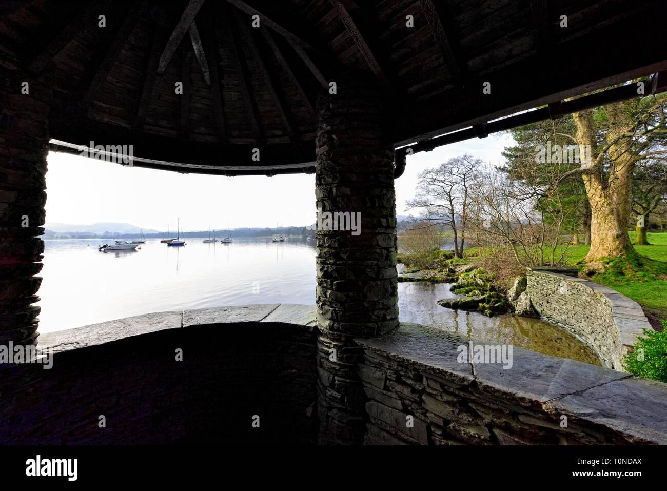 Tourist viewpoint,Lake Windermere,Ambleside,Lake District,Cumbria,England,UK Stock Photo