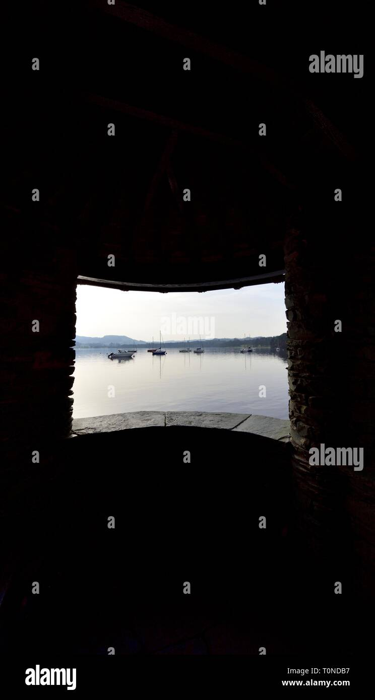 Tourist viewpoint,Lake Windermere,Ambleside,Lake District,Cumbria,England,UK Stock Photo