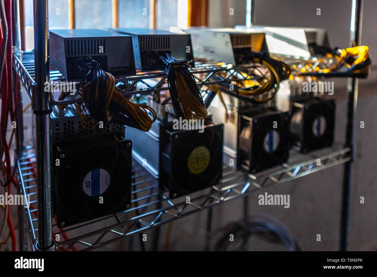 Hardware circuit board for mining cryptocurrency - financial technology and internet money -  blockchain bitcoin BTC Stock Photo