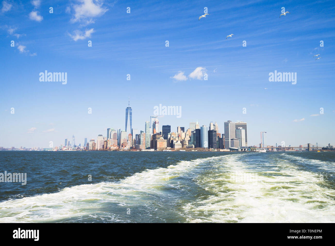 New York City Bus Routes Map, Manhattan Skyline As Seen From The Free To Use Staten Island Ferry With A Flock Of Seagulls Following, New York City Bus Routes Map
