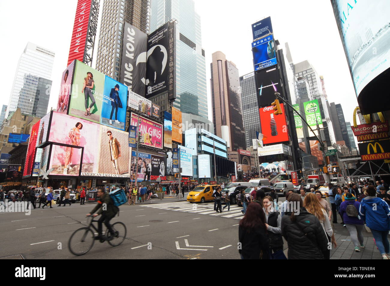 Times Square on West 46th Street, New York City, New York - Stock Image