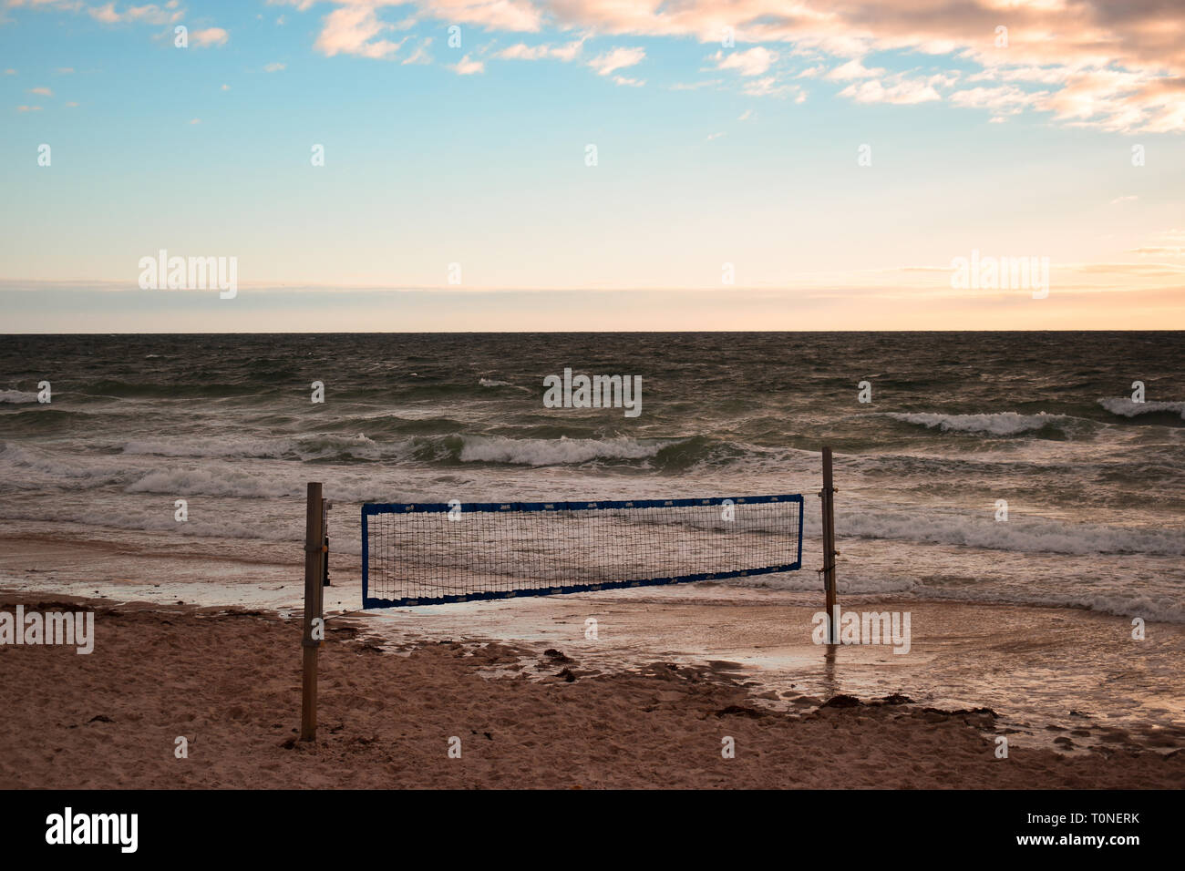 Beach volley, Henley Beach, South Australia - Stock Image