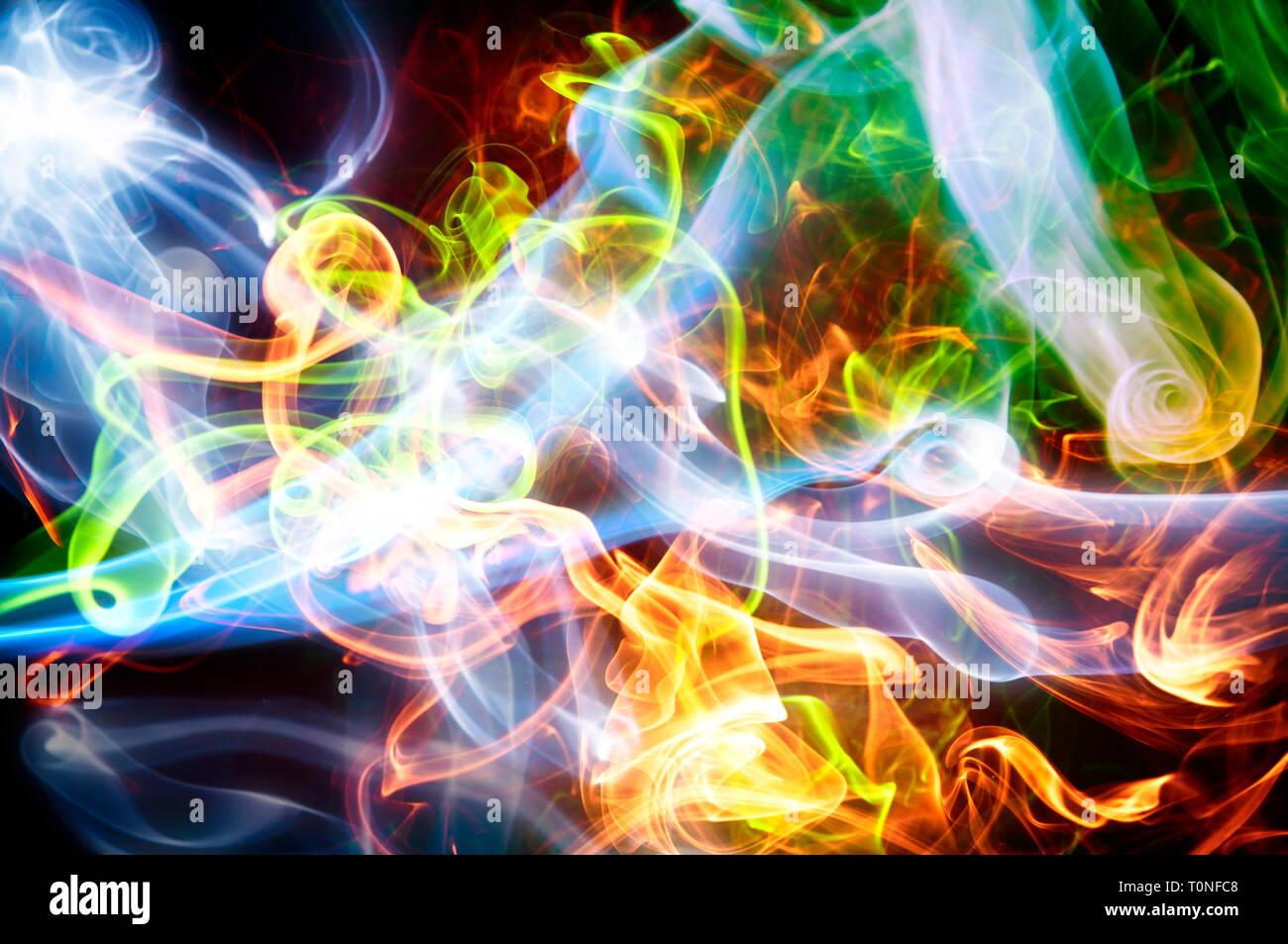 abstract colorful smoke swirls - Stock Image