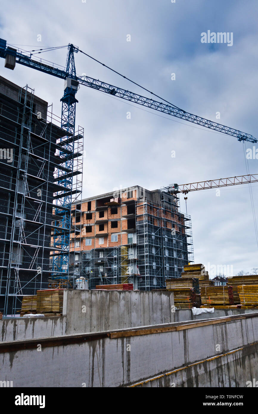 multi-story residential building in construction - Stock Image