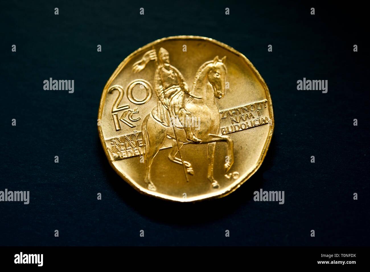 Czech Republic coin 20 crowns - Stock Image