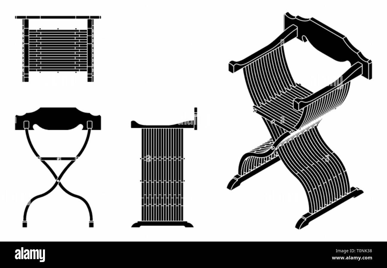 Roman seat black fill. - Stock Image