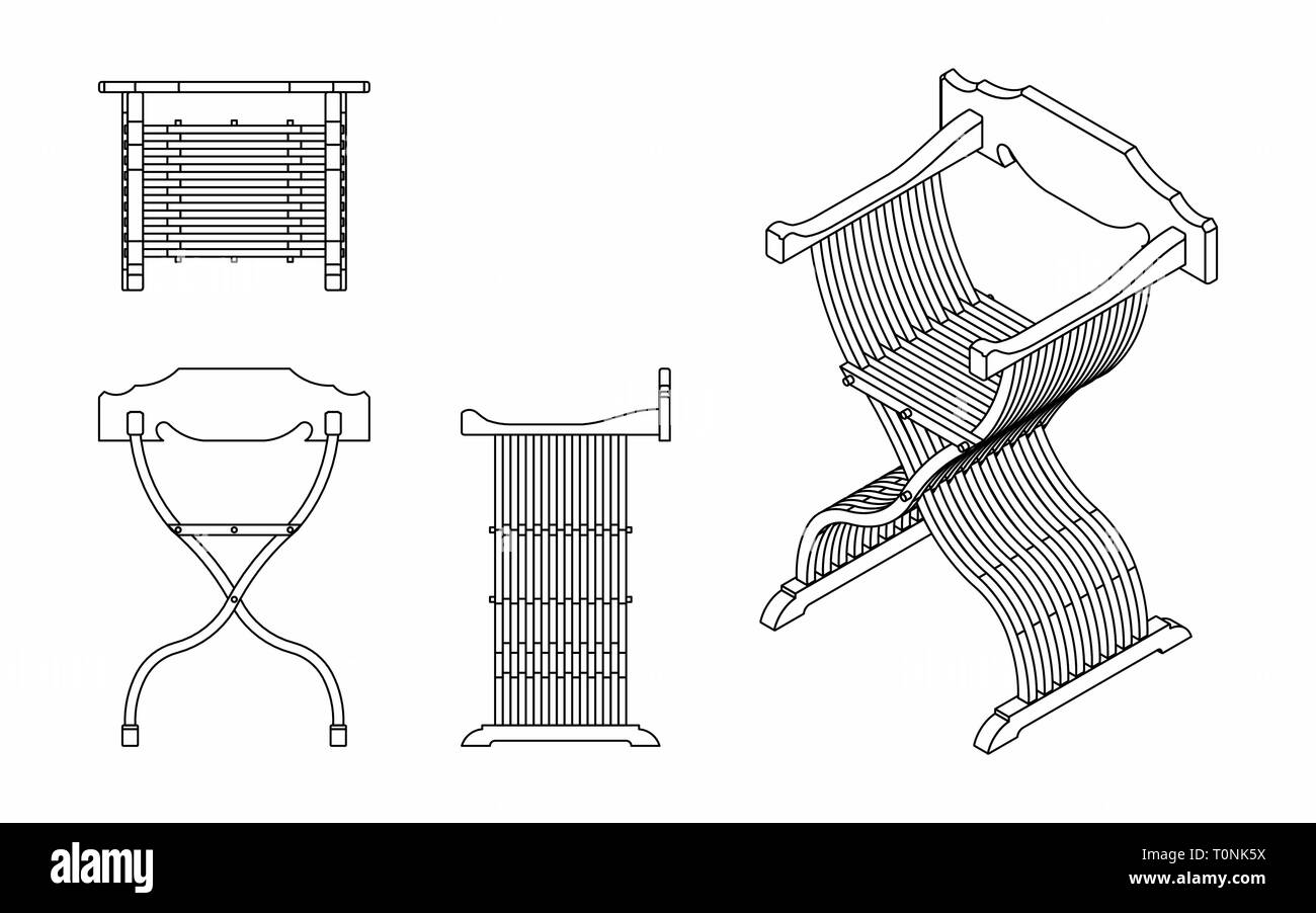 Roman seat outline only - Stock Image