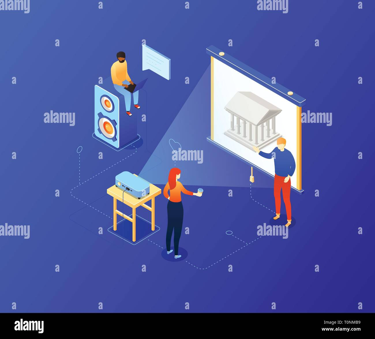 Choose your route - modern colorful isometric illustration - Stock Vector