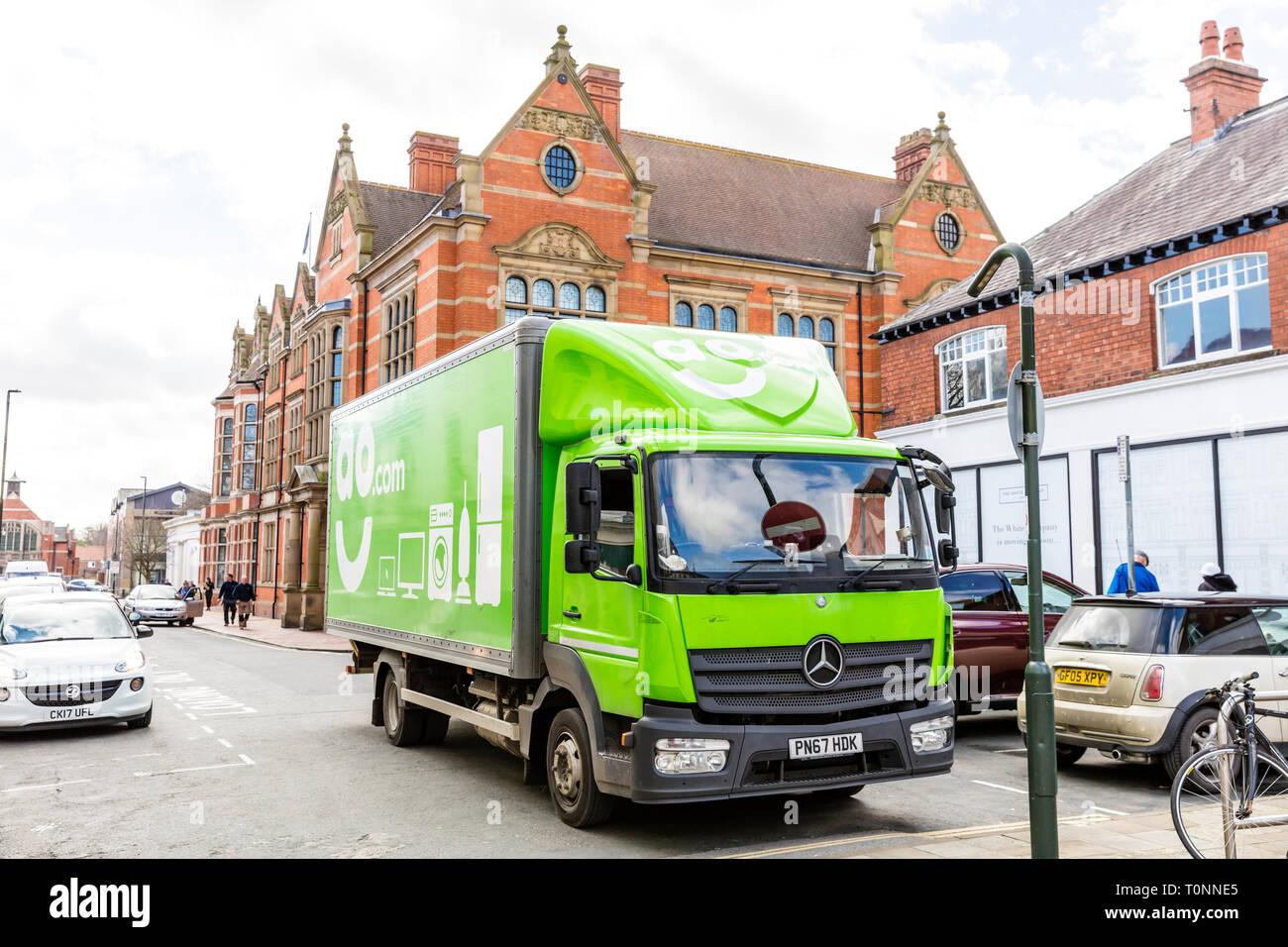 AO delivery, AO.com, Delivering AO appliances, AO delivery truck, AO, delivery, delivering, appliances, lorry, truck, AO electrical, electrical goods, - Stock Image
