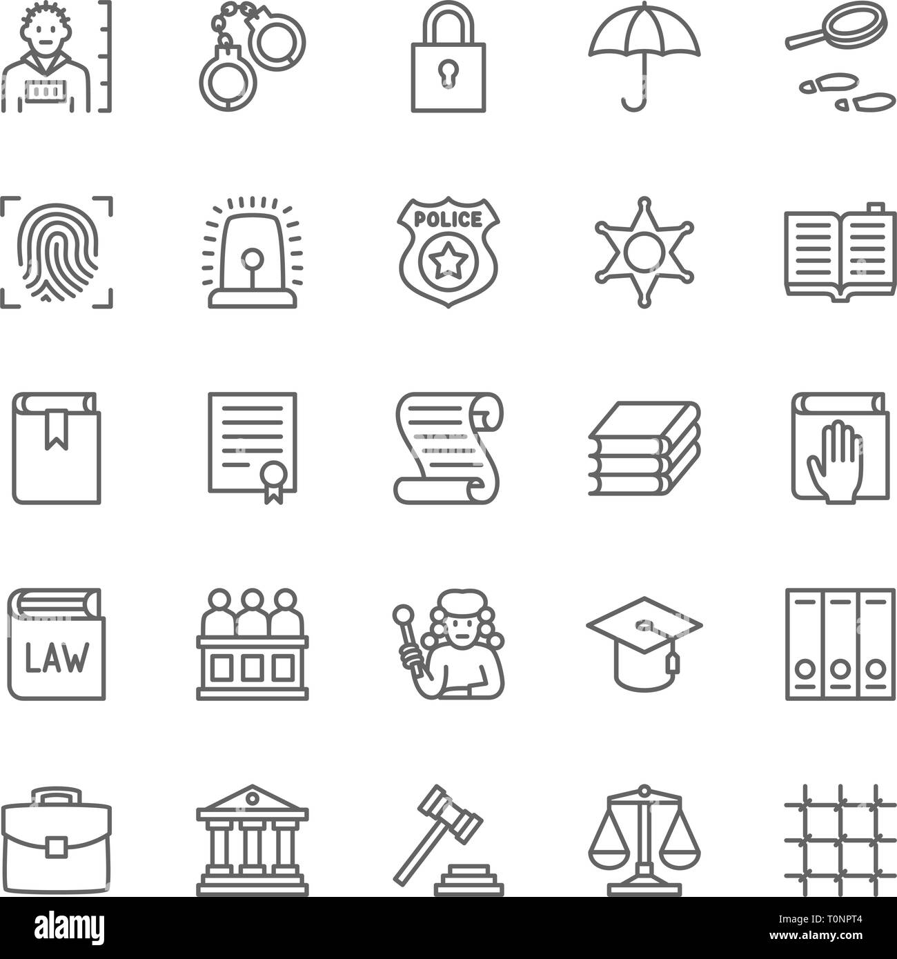 Set of Law and Justice Line Icons. Criminal, Handcuffs, Libra, Police and more. - Stock Vector