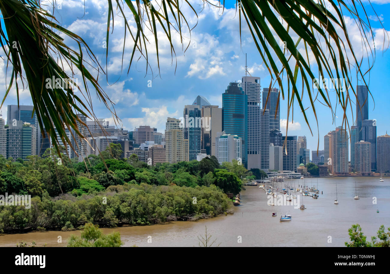 brisbane skyline view with brisbane river, travel australia - Stock Image