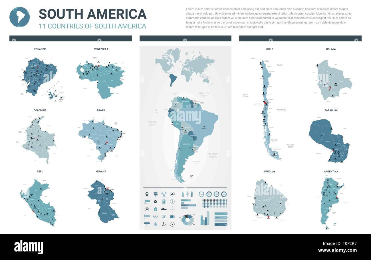Vector maps set.  High detailed 11 maps of South America countries with administrative division and cities. Political map, map of America  continent,  - Stock Image