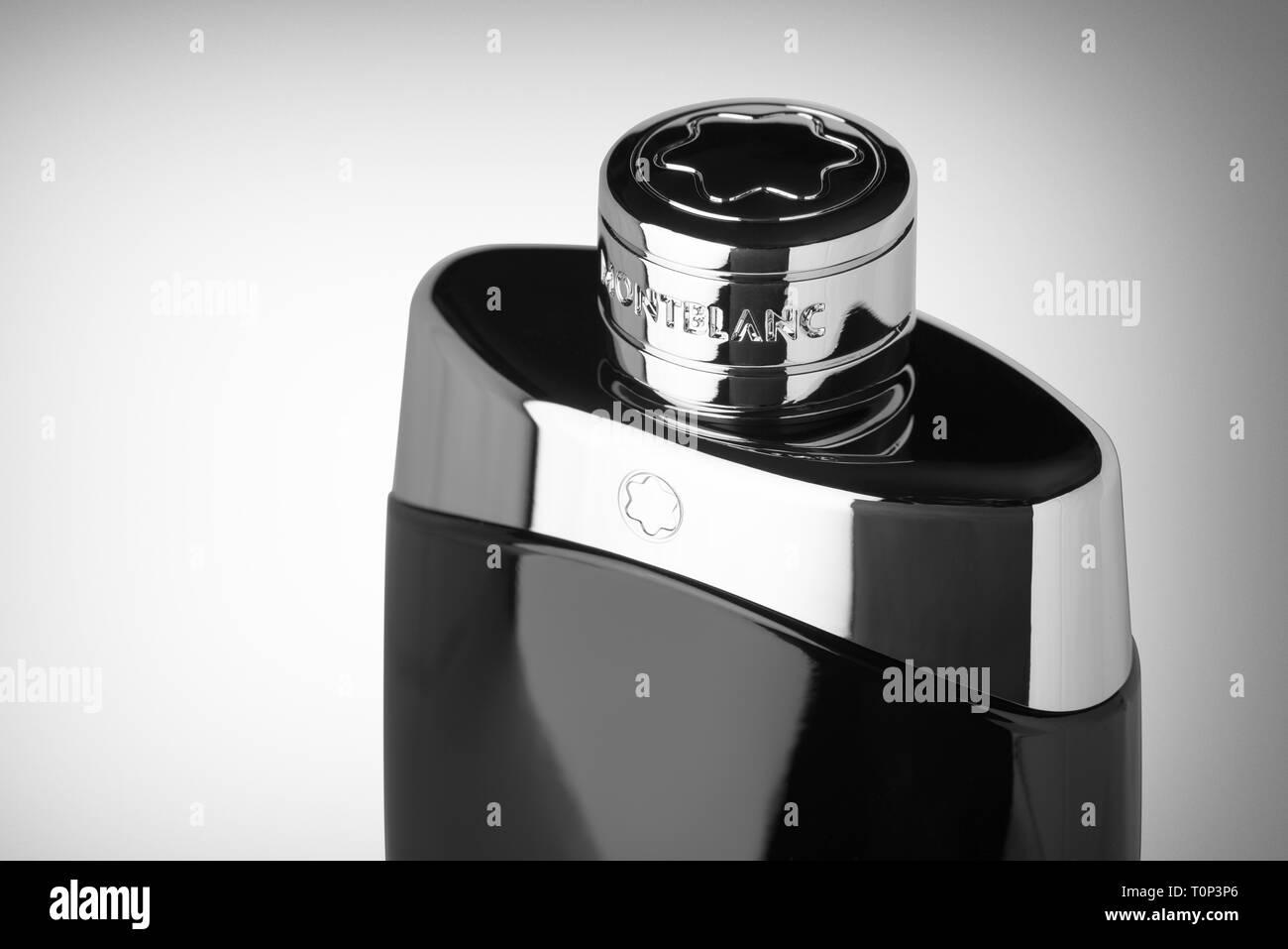 Mont Blanc Legend eau de toilette perfume bottle on a white background. Black and white image. - Stock Image