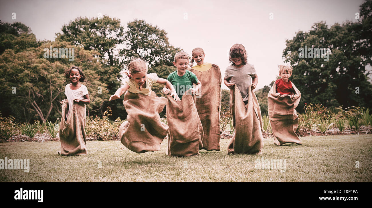 Children having sack race - Stock Image