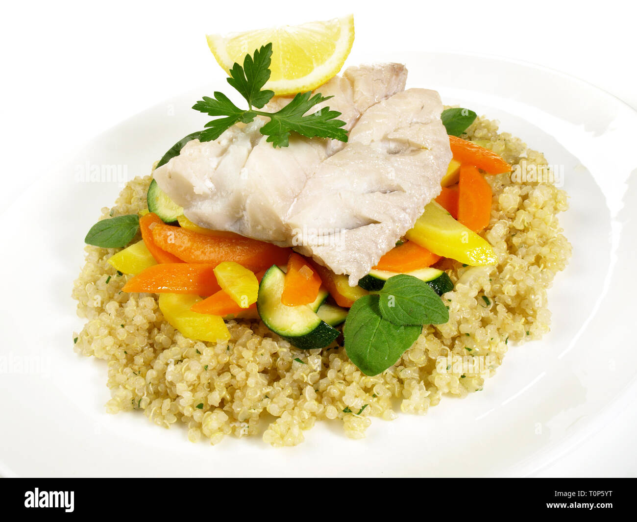 Cooked Pollack Fish with Quinoa - Stock Image
