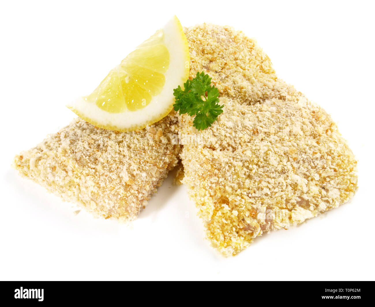 Pollack Fish raw in breadcrumb coating on white Background - Stock Image