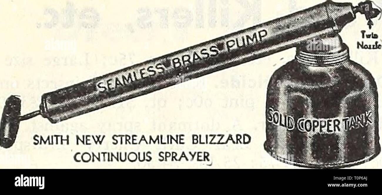 Dreer's autumn 1946 planting guide Dreer's autumn 1946 planting guide  dreersautumn19461946henr Year: 1946  Blizzard Continuous Sprayer. Of one quart capacity, fitted with a nozzle tliat will permit under-foliage spray- ing. Tank is made of copper and the pump of brass. This is, in our opinion, the finest sprayer of its type ever offered. One quart size $2.95, postpaid. Holland Rotary Sprinkler. The whirling wheel distributes water like a gentle shower over an area up to 30 ft. in diameter depending upon the water pressure. Provides uniform coverage. The die cast distributor wheel has nothing  - Stock Image