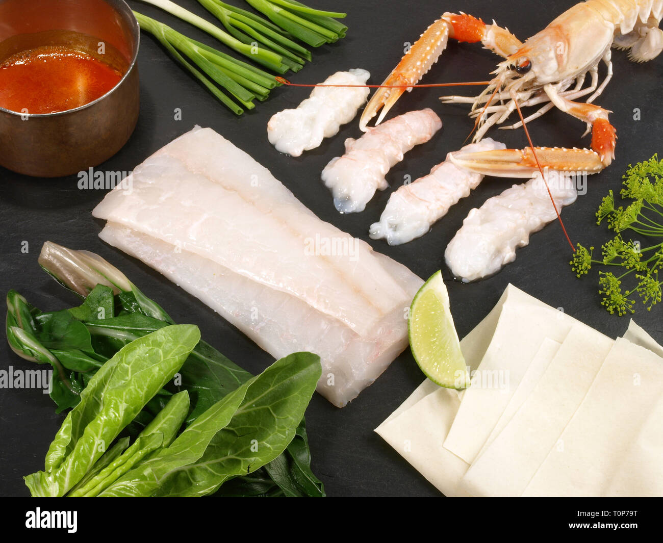 Turbot Fillet - Fish Flatfish - Stock Image