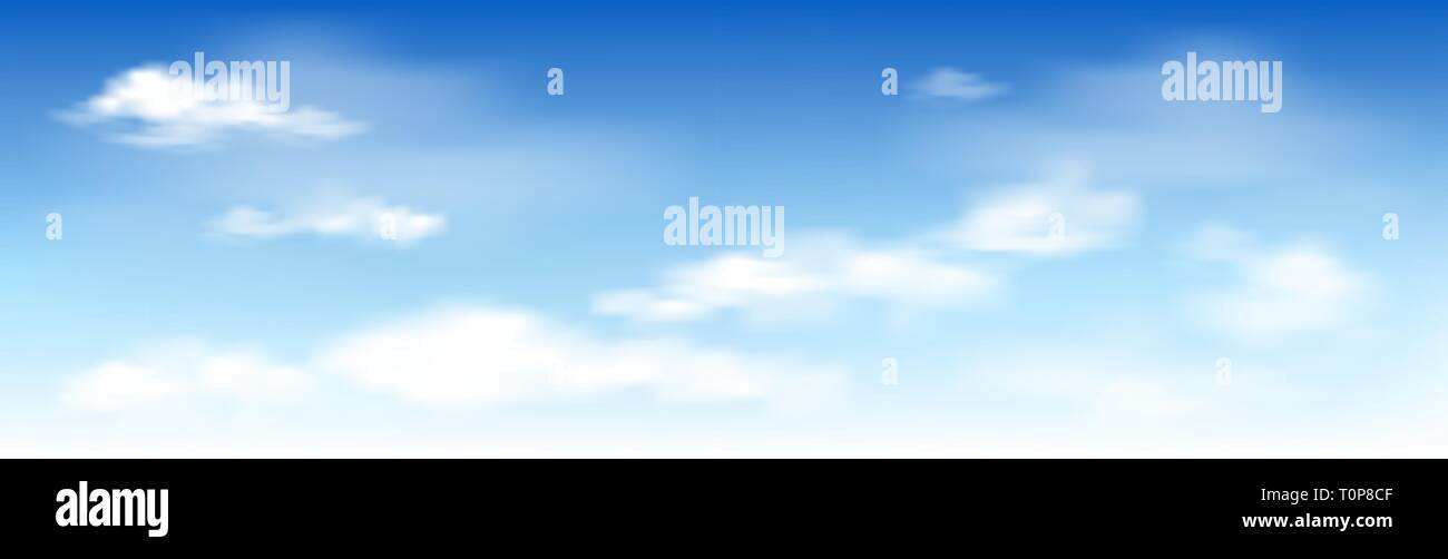 White clouds on the blue sky. Abstract background with clouds on blue sky. In the clear sky high floating clouds. - Stock Vector