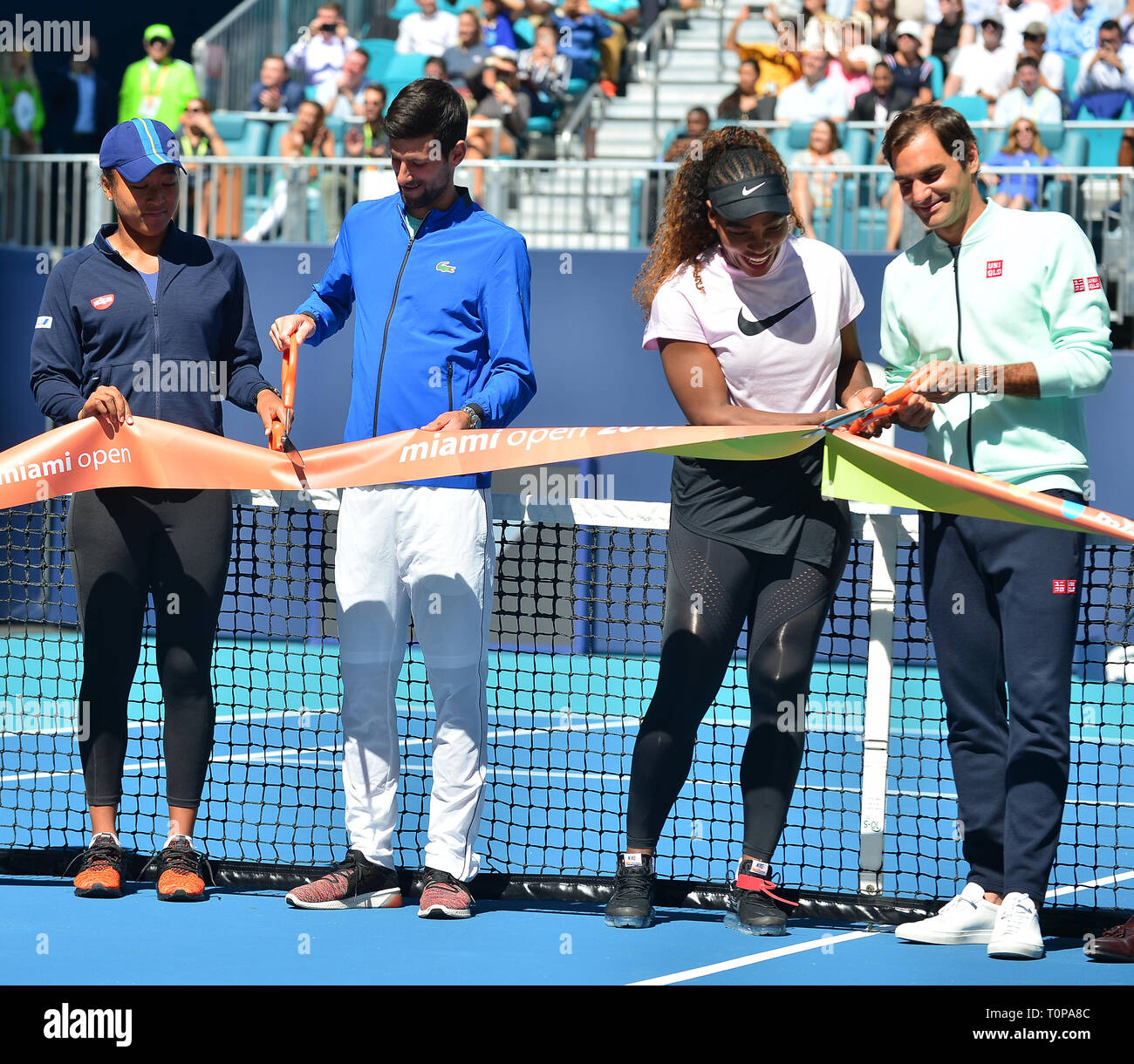 Miami Gardens, Florida, USA. 20th Mar, 2019. Naomi Osaka of Japan, Novak Djokovic of Serbia, Serena Williams of the United States and Roger Federer of Switzerland during the ribbon cutting ceremony before the first match of the Miami Open Day3 at Hard Rock Stadium on March 20, 2019 in Miami Gardens, Florida. Credit: Mpi10/Media Punch/Alamy Live News - Stock Image