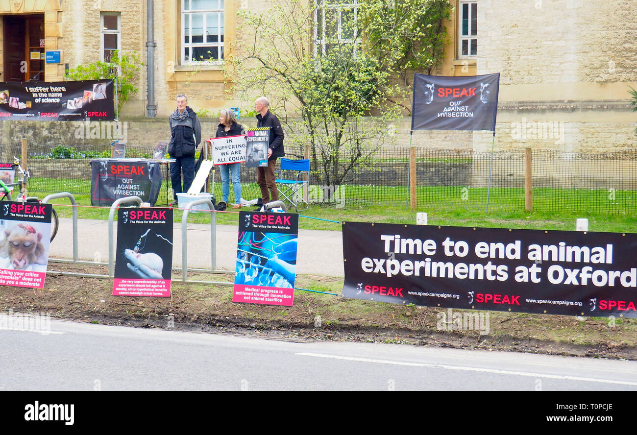 Oxford, UK. 21st Mar 2019. SPEAK animal rights campaigners protesting in South Parks Road. SPEAK was set up 15 years ago this month to protest against a new animal testing centre at the University of Oxford, the Biomedical Sciences Building, which opened in 2008. Following a two-year High Court battle, which ended in 2008, the university won an injunction meaning campaigners can only protest on Thursdays between 1pm and 4pm in a small designated area. They are also gearing up for a protest in Oxford on April 27th for World Day for Animals in Laboratories. Credit: Angela Swann/Alamy Live News - Stock Image