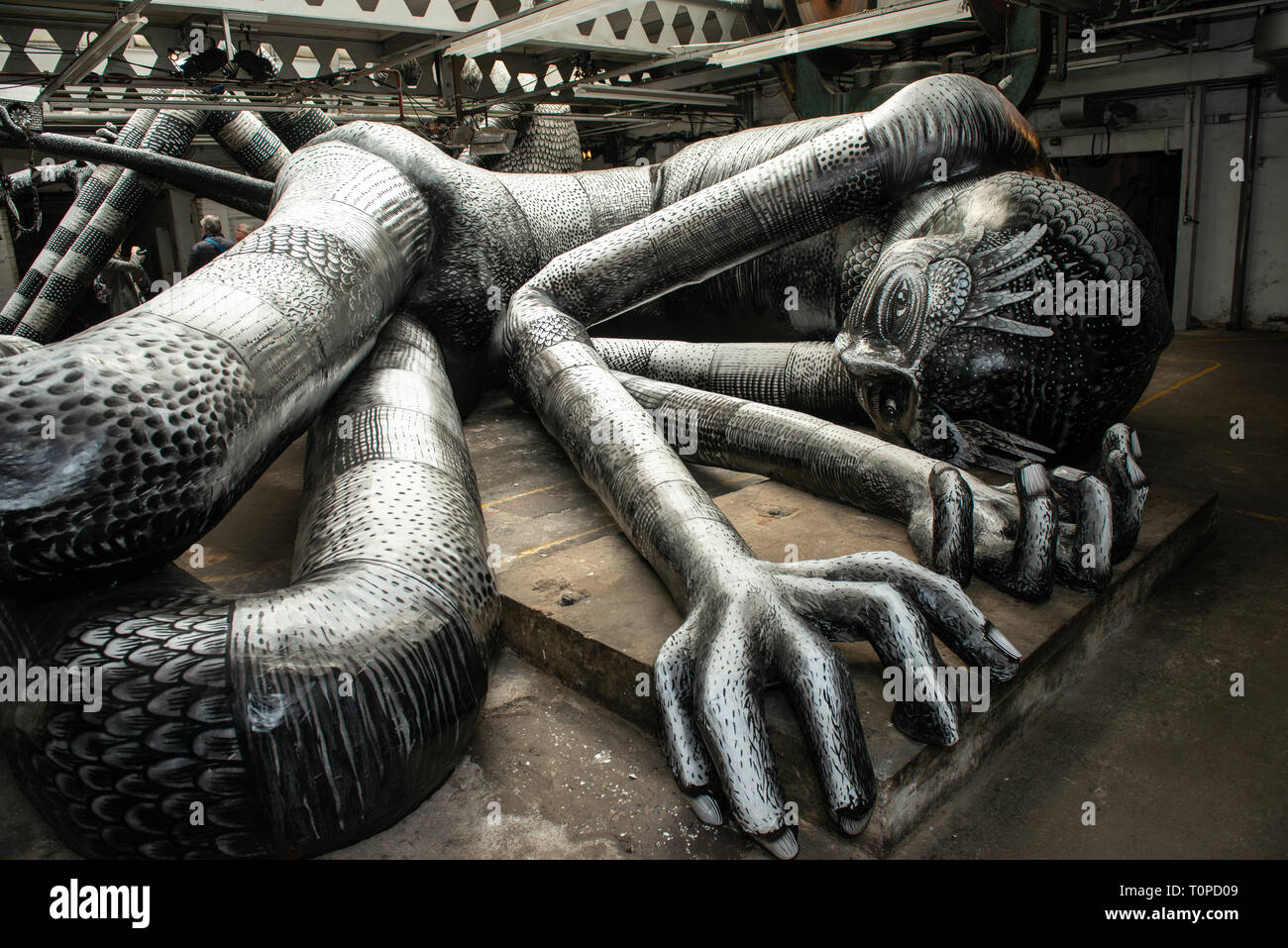 Sheffield, Yorkshire, UK. 21st Mar 2019. Local artist 'Phlegm' is showing his latest creation called 'Mausoleum of the Giants' at the Eye Witness Works, Sheffield until 6th April 2019. Credit: Nigel Greenstreet/Alamy Live News - Stock Image