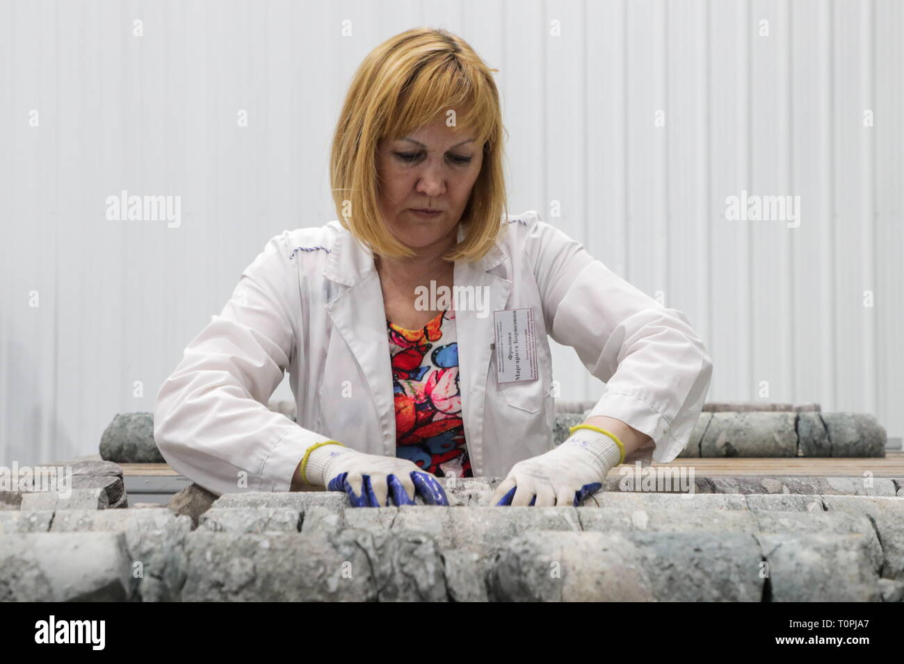 Kogalym, Russia. 21st Mar, 2019. KOGALYM, RUSSIA - MARCH 21, 2019: An employee of the core sample and PVT analysis centre of KogalymNIPIneft, part of Lukoil Engineering. Vyacheslav Prokofyev/TASS Credit: ITAR-TASS News Agency/Alamy Live News - Stock Image