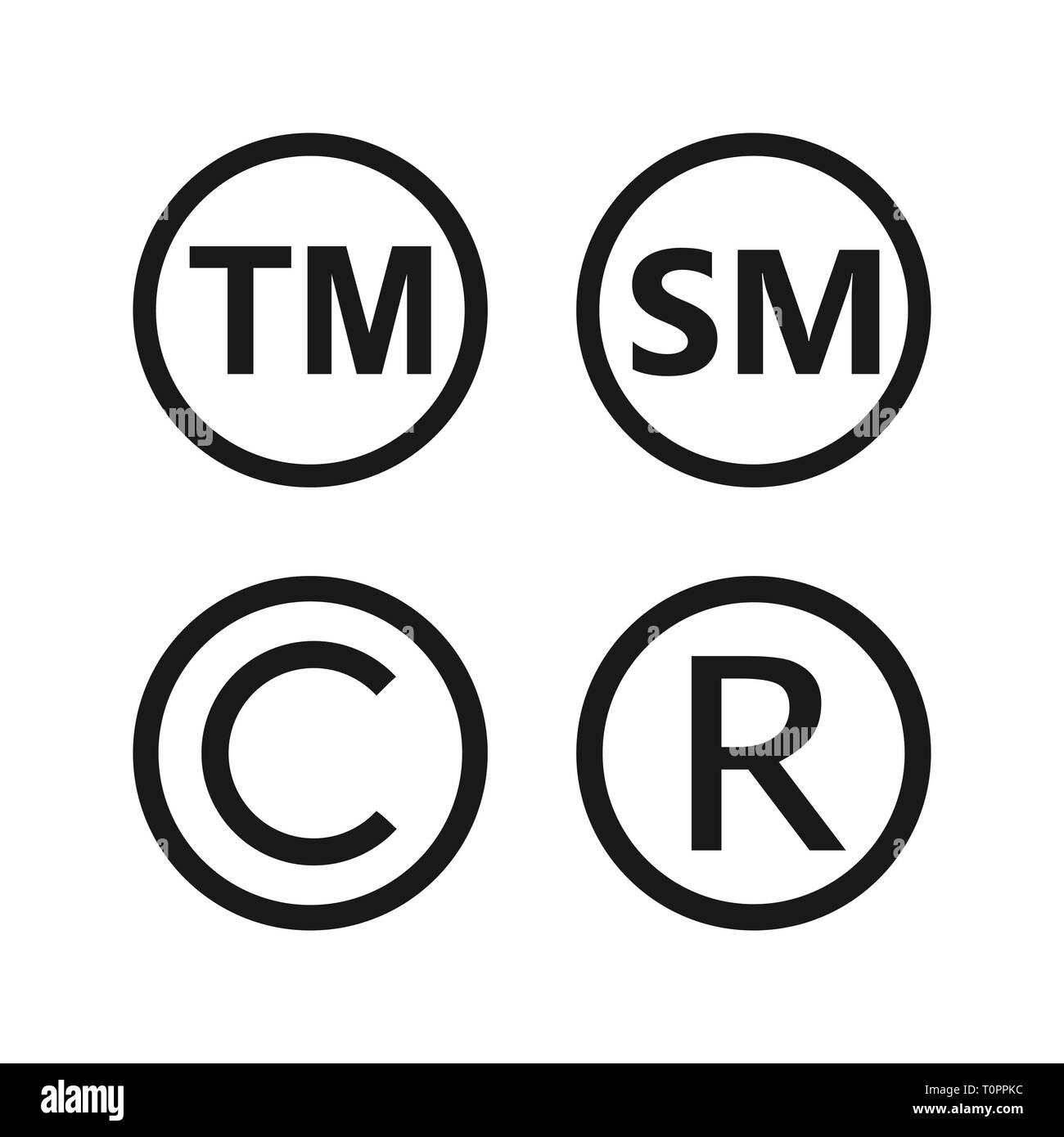 Copyright, registered trademark, smartmark icons set Vector illustartion Stock Vector