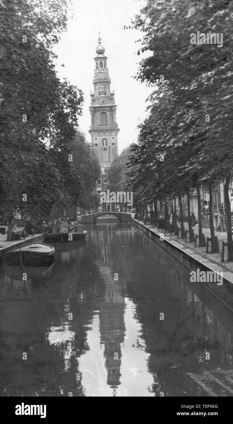 geography / travel, Netherlands, Amsterdam, canal, Prinsengracht, view to Westerkerk, circa 1900, Additional-Rights-Clearance-Info-Not-Available - Stock Image