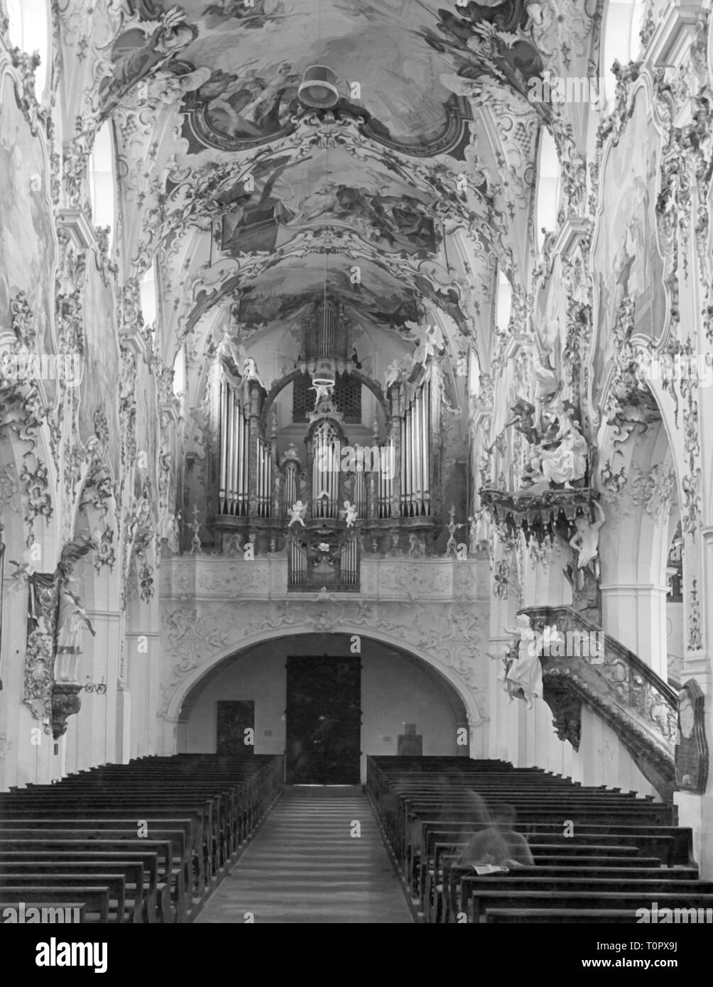 geography / travel, Germany, Steingaden, churches, Saint Johannes Baptist, interior view, central aisle, 1950s, Additional-Rights-Clearance-Info-Not-Available - Stock Image