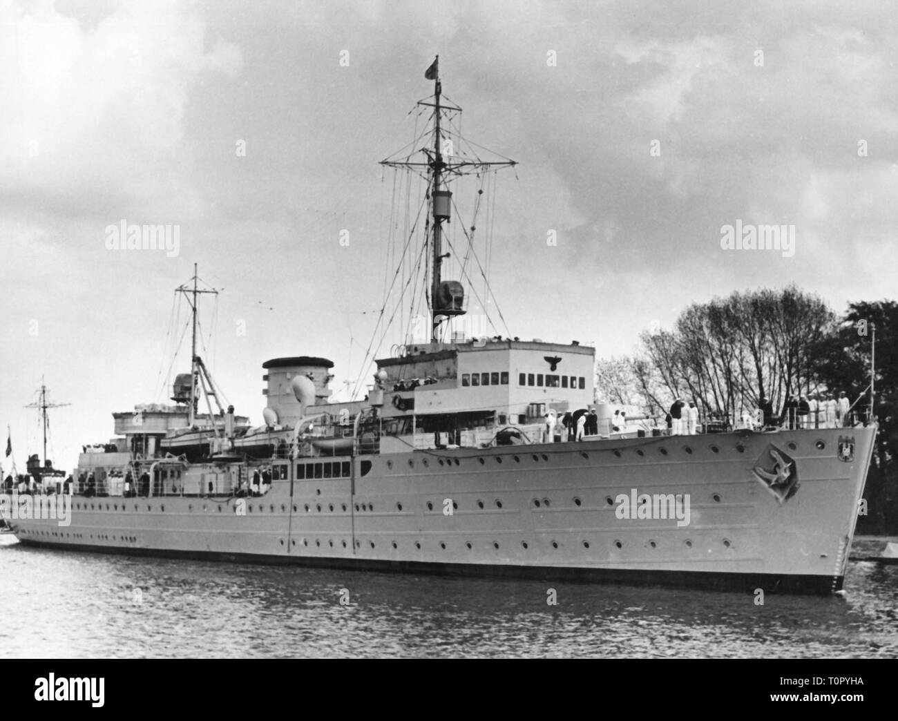Nazism / National Socialism, military, navy, ships, submarine tender Saar, view, late 1930s, Additional-Rights-Clearance-Info-Not-Available Stock Photo