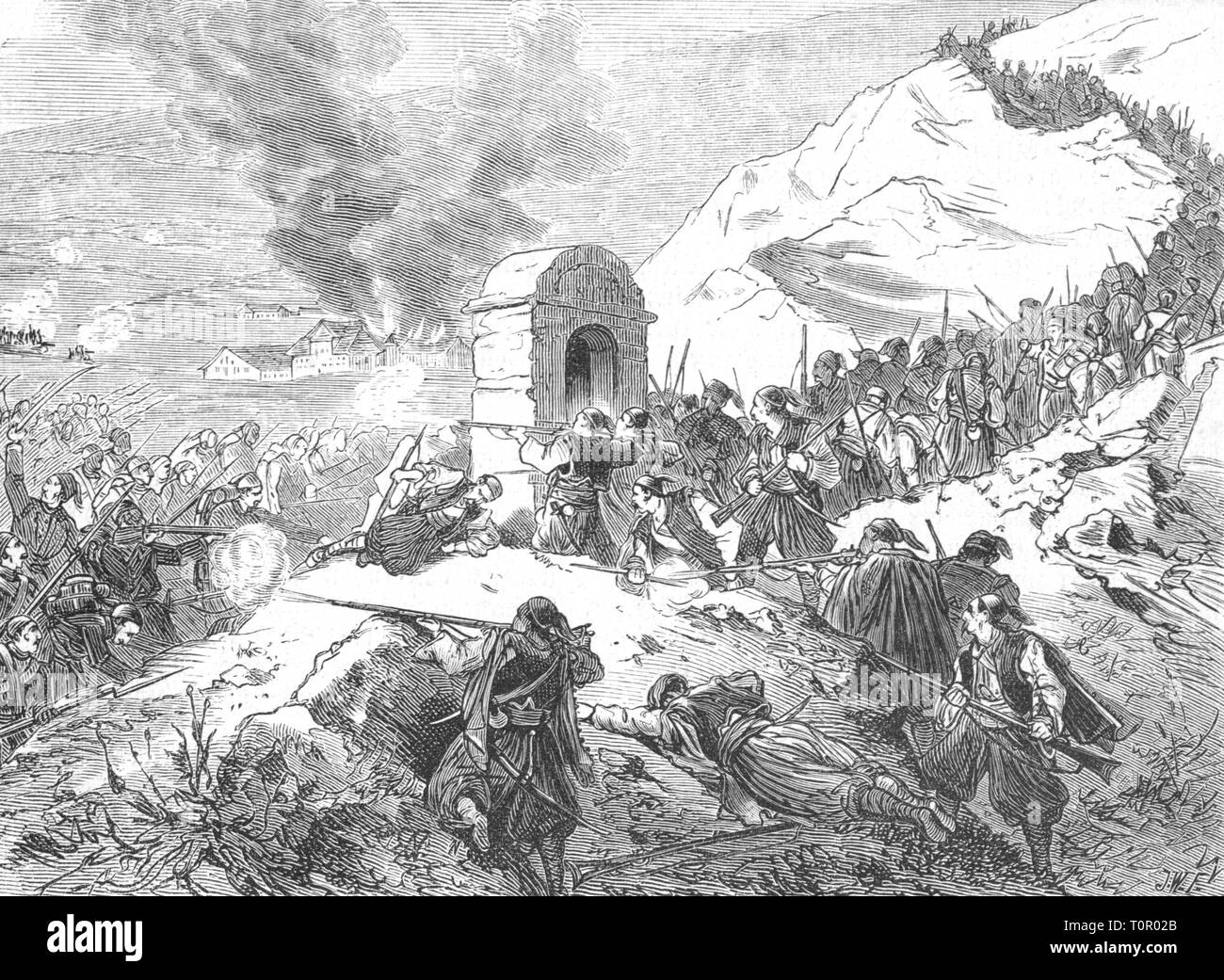 uprising in the Hercegovina 1875 - 1878, encounter between insurgents and Ottoman troops at the Krupa, 1875, contemporary wood engraving, Christian, Christians, insurgency, rebellion, insurgencies, revolts, rebellions, in revolt, insurrection, insurgent, insurgents, revolter, revolters, rebel, rebels, battle, battles, fight, fights, struggle, struggles, military, soldiers, soldier, Turks, the Balkans, Great Eastern Crisis, crisis, crises, people, 19th century, uprising, rising, uprisings, encounter, encounters, Ottoman, Ottoman Empire, historic, , Additional-Rights-Clearance-Info-Not-Available Stock Photo