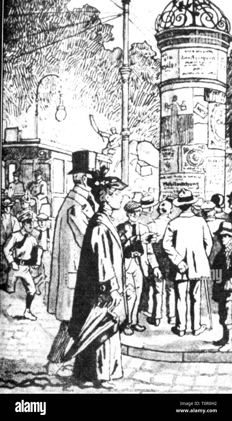 geography / travel, Germany, Berlin, street scenes / street scene, passers-by at an advertising pillar, drawing, circa 1905, Additional-Rights-Clearance-Info-Not-Available - Stock Image