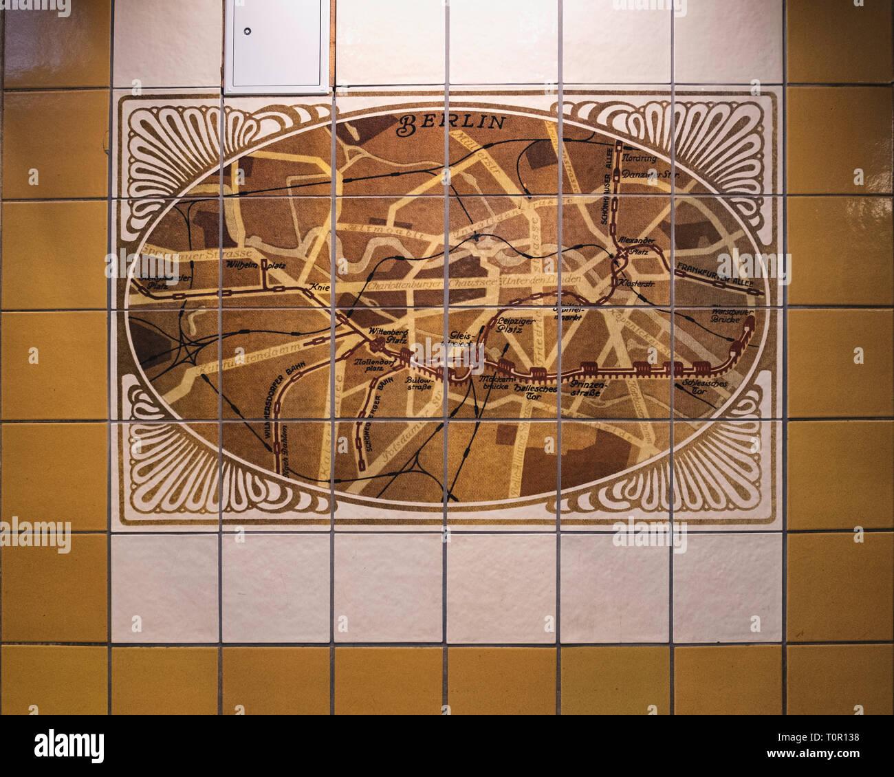 Berlin, Schöneberg. Wittenbergplatz Station Underground U-bahn railway Station serves U1,U2 & U3 lines.Old Rail network map - Stock Image