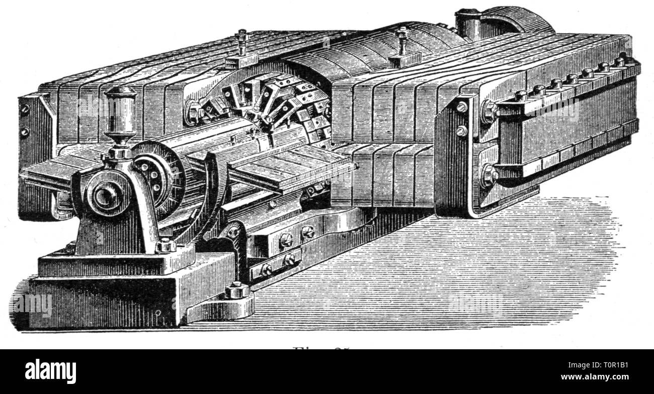 technics, electrical engineering, dynamo generator of Siemens and Halske, wood engraving, late 19th century, Additional-Rights-Clearance-Info-Not-Available - Stock Image