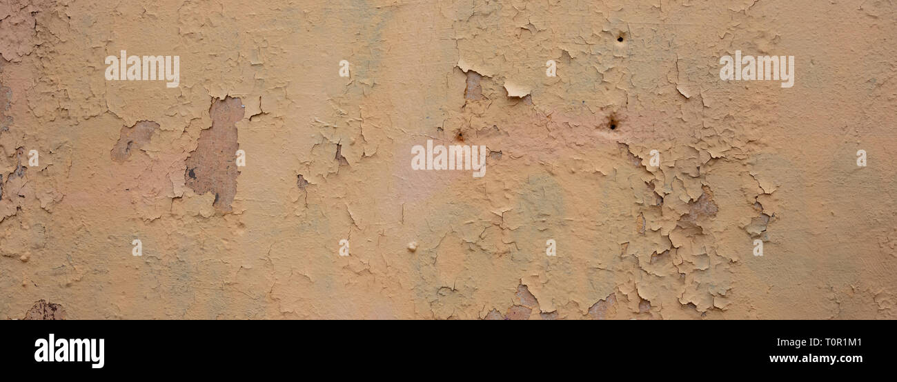 Beige light brown color, painted and peeled wall texture grunge background, banner Stock Photo